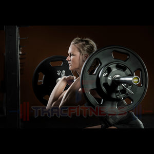 Intek 15kg Woman's Power Bar in Action with Intek Weights