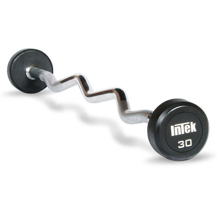 INTEK Champion Series Rubber EZ Curl Barbells 20-110 lbs
