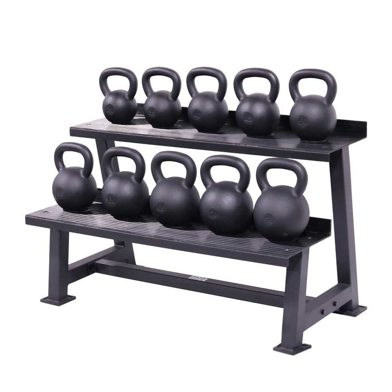 Intek Cast Iron Kettlebells group shown on Intek Kettlebell Rack.