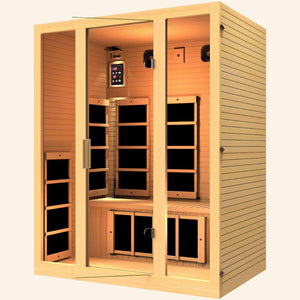 JNH LifeStyles Joyous 3 Person Infrared Sauna made out of 100% Canadian Hemlock Wood.