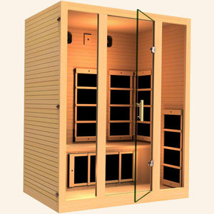 JNH LifeStyles Joyous 3 Person Infrared Sauna with a glass see-through door.