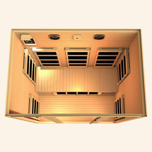 JNH LifeStyles Joyous 3 Person Infrared Sauna top view with premium bluetooth speakers.