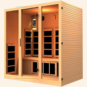 JNH LifeStyles Joyous 4 Person Infrared Sauna made out of 100% Canadian Hemlock Wood.