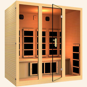 JNH LifeStyles Joyous 4 Person Infrared Sauna with a glass see-through door.