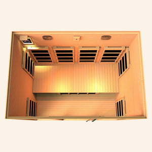 JNH LifeStyles Joyous 4 Person Infrared Sauna top view with premium bluetooth speakers.