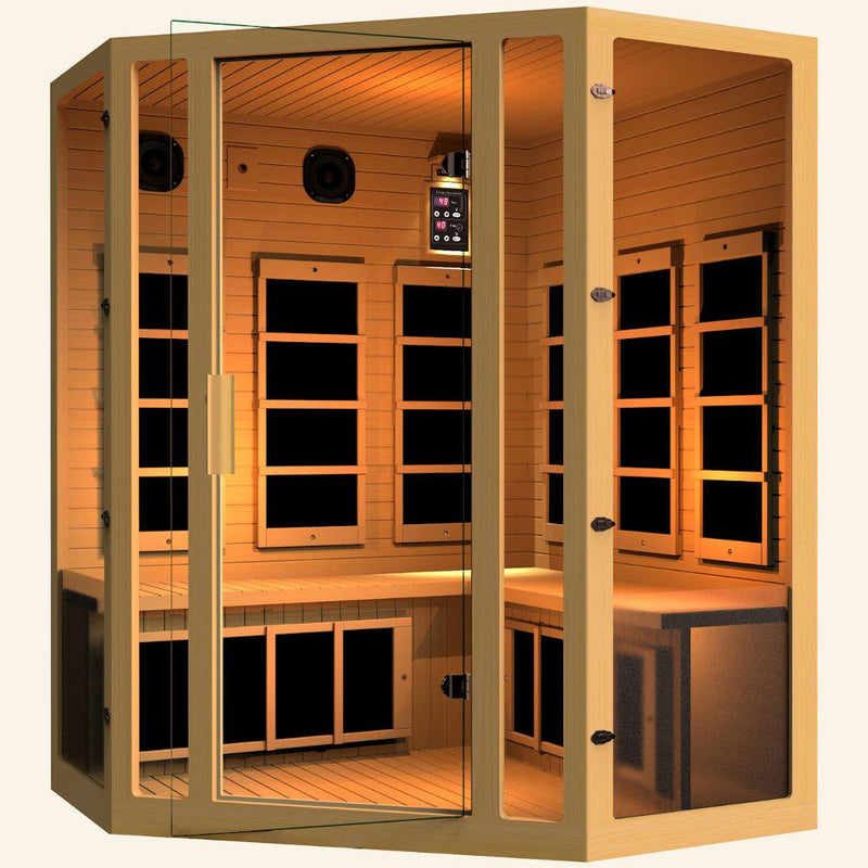 JNH LifeStyles Joyous Corner Infrared Sauna made out of 100% Canadian Hemlock Wood.