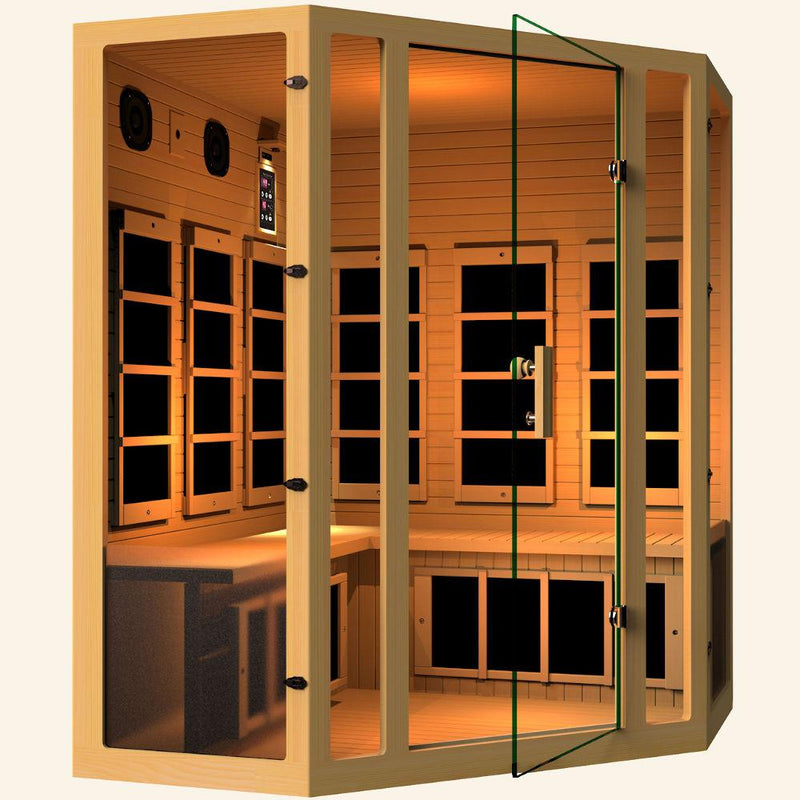 JNH LifeStyles Joyous Corner Infrared Sauna with a glass see-through door.