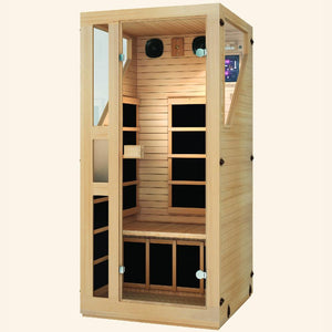JNH LifeStyles Ensi 1 Person Infrared Sauna made from premium Canadian Hemlock and Zero EMF reading.