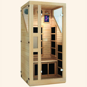 JNH LifeStyles Ensi 1 Person Infrared Sauna with a see-through door and dual wall insulation.