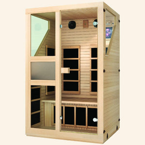 JNH LifeStyles Ensi 2 Person Infrared Sauna made from premium Canadian Hemlock and Zero EMF reading.