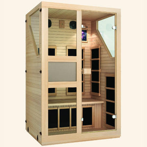 JNH LifeStyles Ensi 2 Person Infrared Sauna with a see-through door and dual wall insulation.
