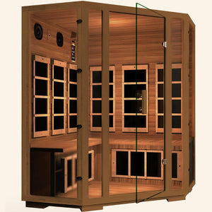 JNH LifeStyles Freedom Corner Sauna designed with 100% top quality Canadian Western Red Cedar Wood.