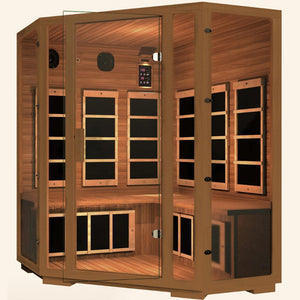 JNH LifeStyles Freedom Corner Sauna designed with special safety glass.