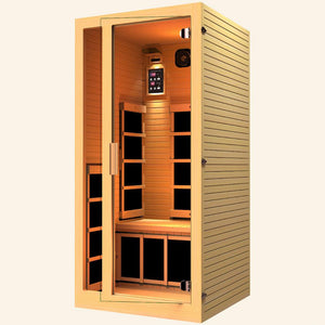 JNH LifeStyles Joyous 1 Person Infrared Sauna made out of 100% Canadian Hemlock Wood.