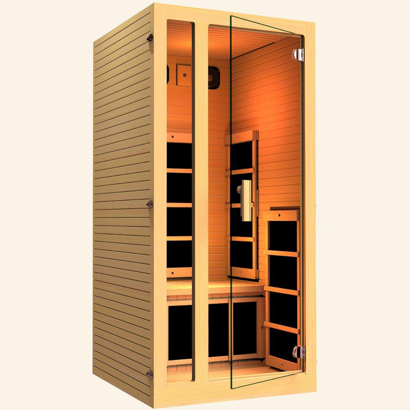 JNH LifeStyles Joyous 1 Person Infrared Sauna with a glass see-through door.