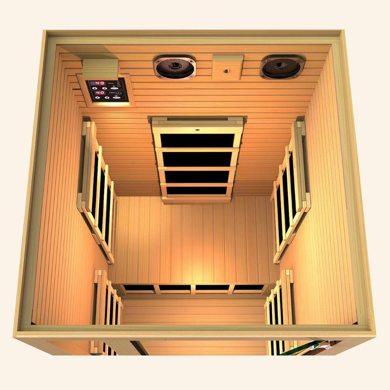JNH LifeStyles Joyous 1 Person Infrared Sauna top view with premium bluetooth speakers.