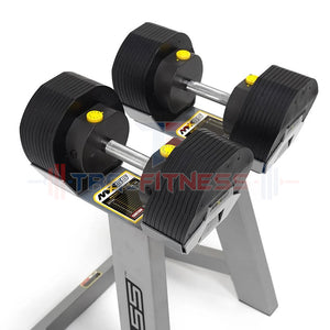MX55 Adjustable Dumbbells 5 to 55 - compact design.