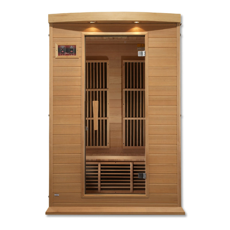 Maxxus Canadian Hemlock Near Zero EMF 2 Person Infrared Sauna - front view