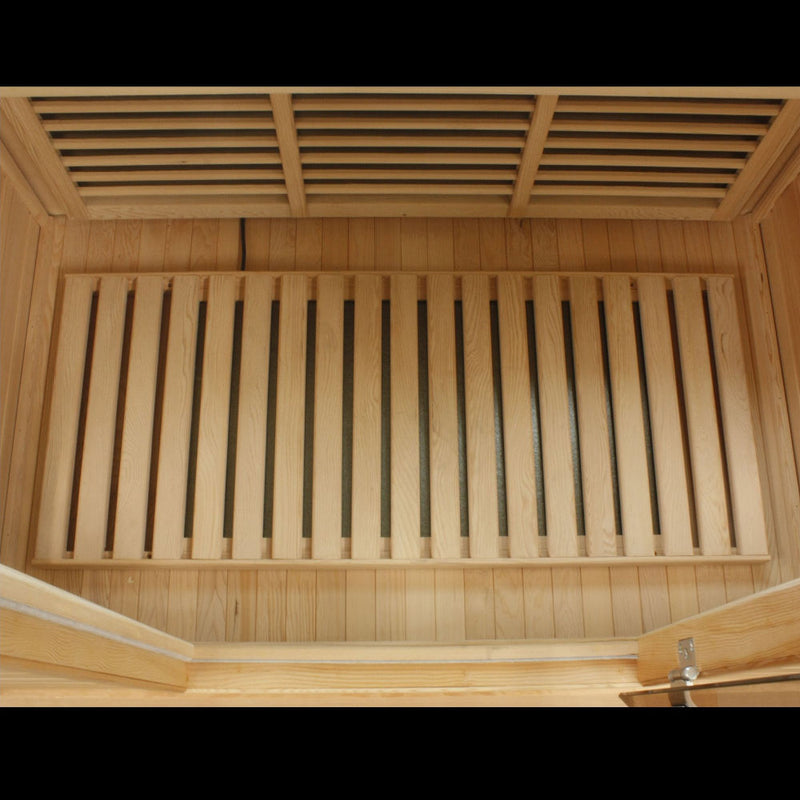 Maxxus Canadian Hemlock Near Zero EMF 2 Person Infrared Sauna - floor heater.