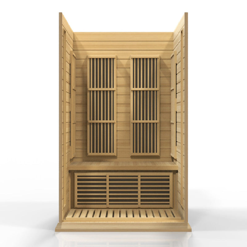 Maxxus Canadian Hemlock Near Zero EMF 2 Person Infrared Sauna - Interior.
