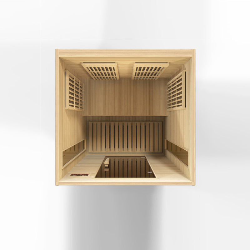 Maxxus Canadian Hemlock Near Zero EMF 2 Person Infrared Sauna - Interior Aerial View.