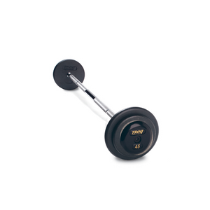 Troy Pro 45 lb Style Straight Barbell with a black finish and rubber end cap.