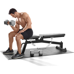Arm workout with a gym bench on the Proform Vinyl Exercise Mat.