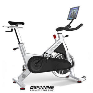 Spinner A1 Spin Bike shown with tablet mount and tablet.