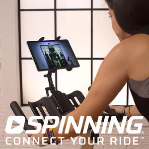 Spinning Digital subscription shown on a tablet mounted to the Spinner P3 Spin Bike.