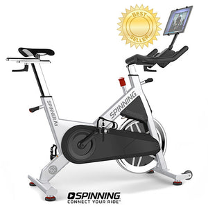 Spinner A3 - Best Selling Spin Bike shown with optional tablet and tablet mount.