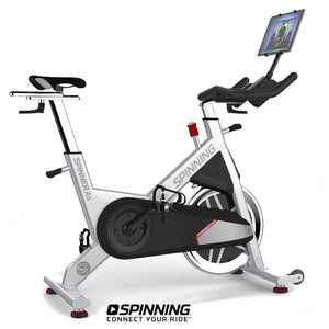 Spinner A5 indoor cycling belt driven spin bike shown with optional tablet and tablet mount.
