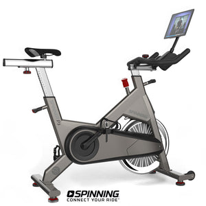 Spinner P3 Performance Series Spin Bike shown with optional tablet and tablet mount.