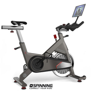 Spinner P5 Performance Series Spin Bike shown with optional tablet and tablet mount.