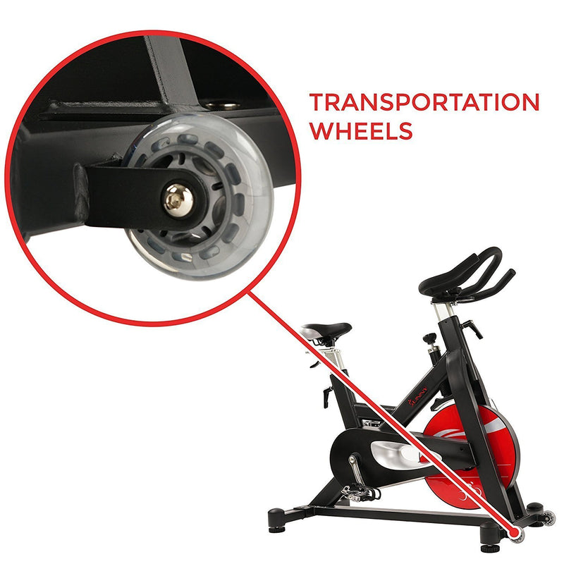 Sunny Health & Fitness SF-B1714 Evolution Pro Indoor Cycle - Transport Wheels.