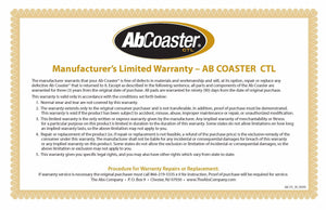 AbCoaster CTL Commercial Abdominal Machine Warranty Certificate