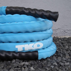 TKO Blue Deluxe Nylon Covered Battle Rope