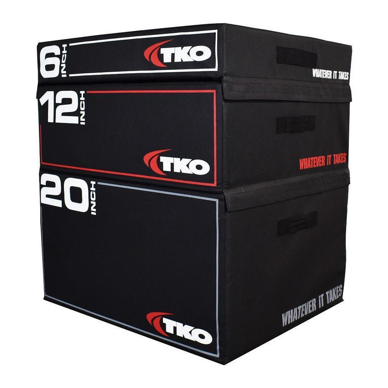 "TKO Stackable Foam Plyo Box 3 piece 6"", 12"", and 20 inch stacks."
