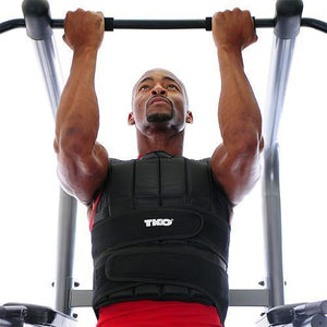 Performing pullups with the TKO 20 lb Weighted Vest.