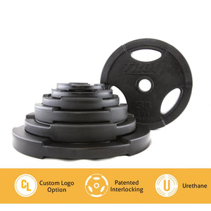 Troy Barbell GO-U Urethane Olympic Plates easily interlock and stack.