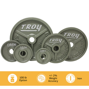 Troy Premium Deep Dish Hammertone Gray Olympic Weight Set.