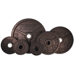 Troy Premium Cast Iron Deep Dish Black Olympic Plates 2.5 to 45 lbs.