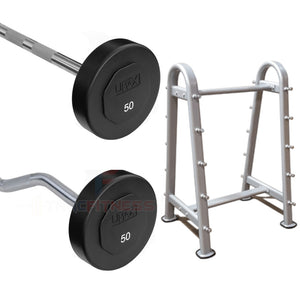 Umax Fixed Urethane Barbells 20-110 lbs + Barbell Rack - Display Model.