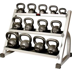 York 3 Tier Kettlebell Rack shown with York Cast Iron Kettlbells.