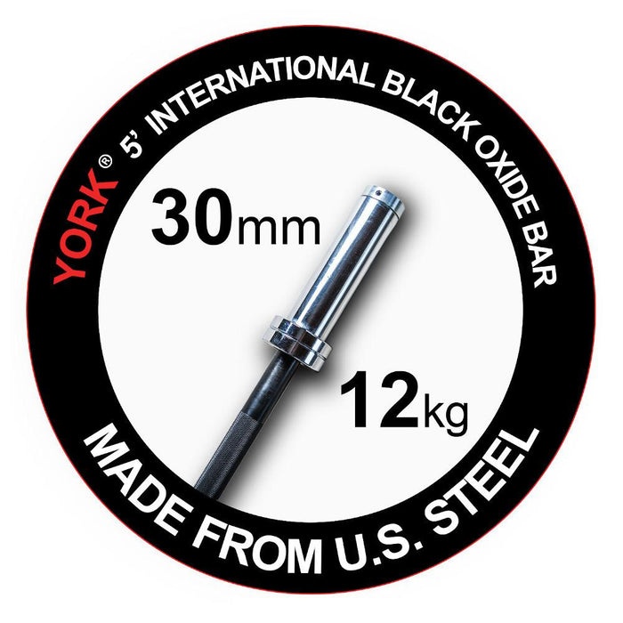 York 5' Black Oxide Olympic Bar Made in USA