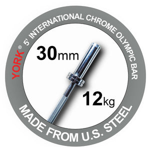 York 5' International Chrome Olympic Bar.