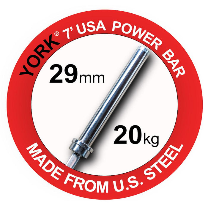 York 7 Foot Elite Power Weight Bar Made in USA