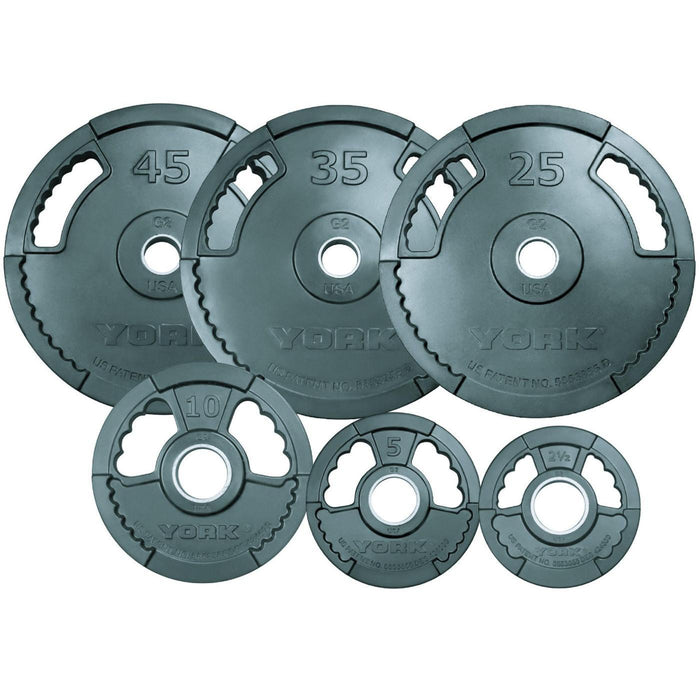 York G2 Dual Grip Rubber Olympic Plates 355 lb Set