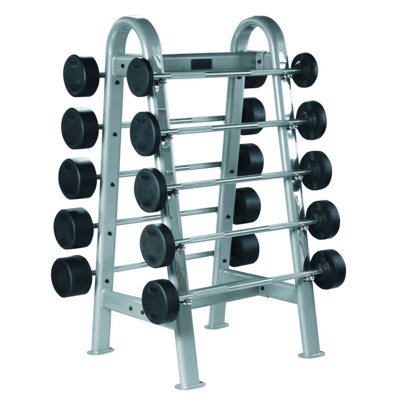 York ETS Barbell Rack  shown with York Premium Rubber Fixed Barbells.