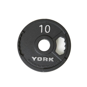 York G2 Olympic Cast Iron Interlocking Grip 10 lb Plate.
