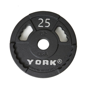 York G2 Olympic Cast Iron Interlocking Grip 25 lb Plate.